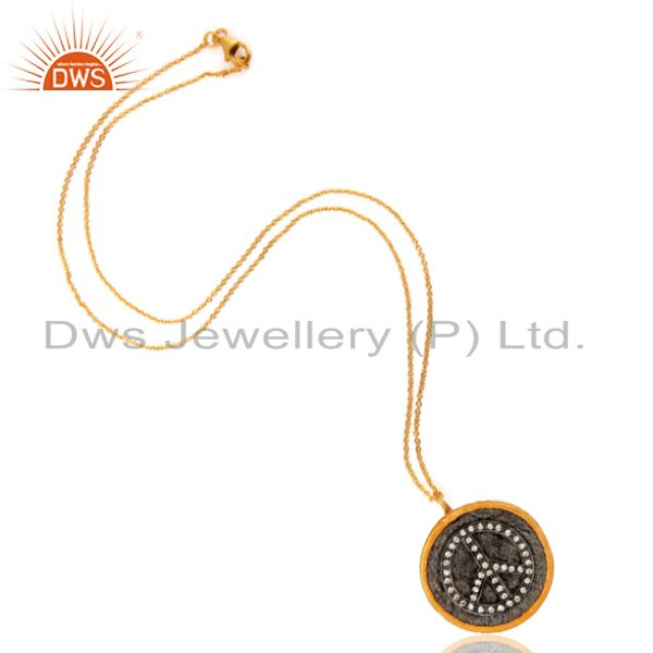 Manufacturer of Black Rhodium Plated White Cubic Zirconia Peace Sign Fashion Pendant Necklace