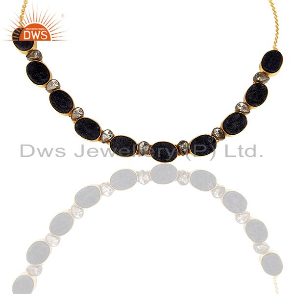 Supplier of 22K Yellow Gold Plated Sterling Silver Dyed Blue Sapphire And CZ Choker Necklace
