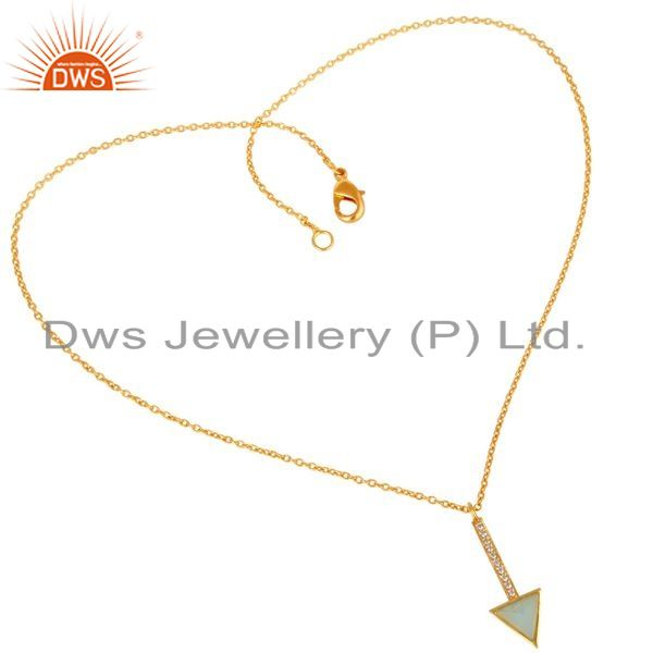 Wholesale Aqua Chalcedony Triangle Cut 14 K Gold Plated 92.5 Sterling Silver Chain Pendent