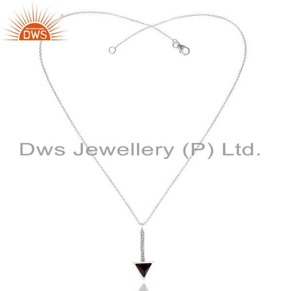 Wholesale Smoky Topaz Triangle Cut 92.5 Sterling Silver Chain Pendent,Long Pendent
