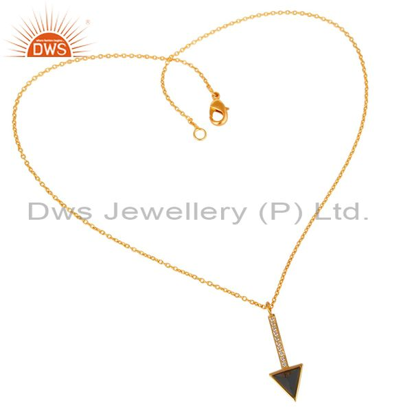 Supplier of Black Onyx Triangle Cut 14 K Gold Plated 92.5 Sterling Silver Chain Pendent