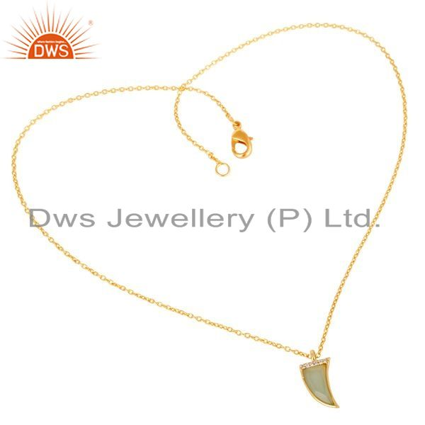 Supplier of Aqua Chalcedony Horn Cz Studded 14 K Gold Plated chain 92.5 Silver Pendent