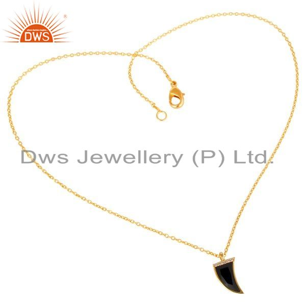 Manufacturer of Black Onyx Horn Cz Studded 14 K Gold Plated chain 92.5 Sterling Silver Pendent
