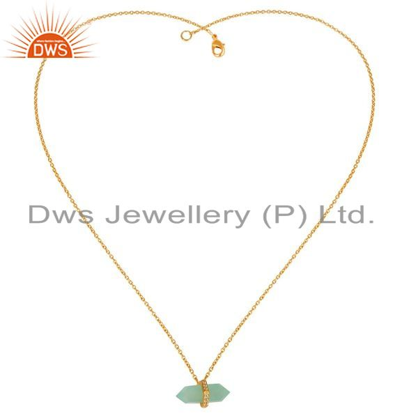 Supplier of Aqua Chalcedony Terminated Pencil Cz Studded 14K Gold Plated Silver Pendent