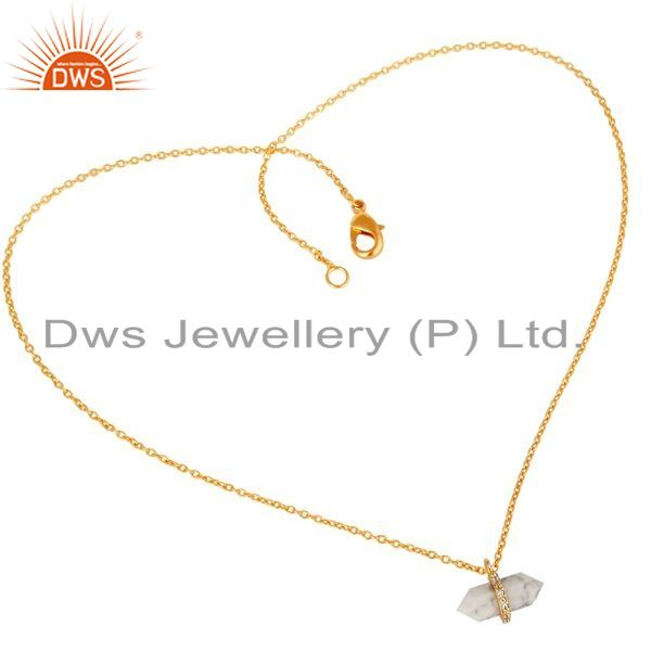 Wholesale Howlite Terminated Pencil Cz Studded 14K Gold Plated Silver Pendent