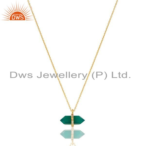 Wholesale Green Onyx Terminated Pencil Cz Studded 14K Gold Plated Silver Pendent