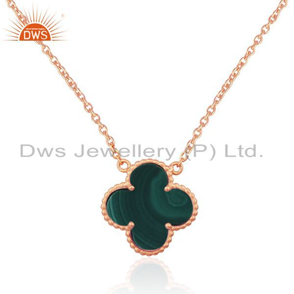Indian Supplier of Malachite Gemstone Rose Gold Plated Sterling Silver Chain Pendant