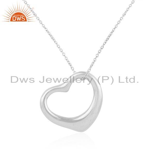 Indian Supplier of Open Heart 925 Sterling Silver White Rhodium Pendants