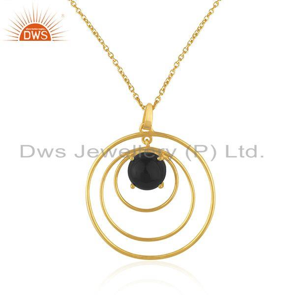Indian Wholesaler of Round Circle Design 925 Silver Gold Plated Black Onyx Gemstone Pendant