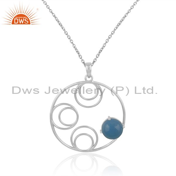 Indian Manufacturer of Blue Chalcedony Gemstone Fine Sterling Silver Designer Chain Pendant