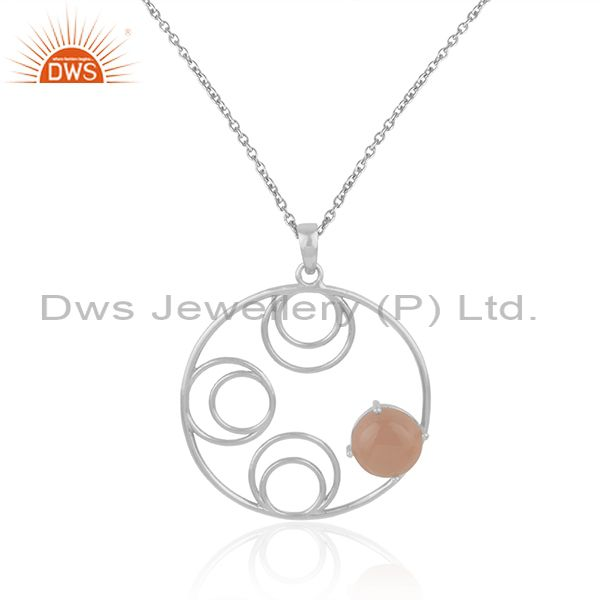 Indian Wholesaler of Designer Rose Chalcedony Gemstone Fine Sterling Silver Chain Pendant