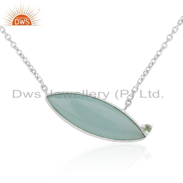 Manufacturer of Chalcedony Aqua Gemstone Handmade Fine Sterling Silver Chain Necklace