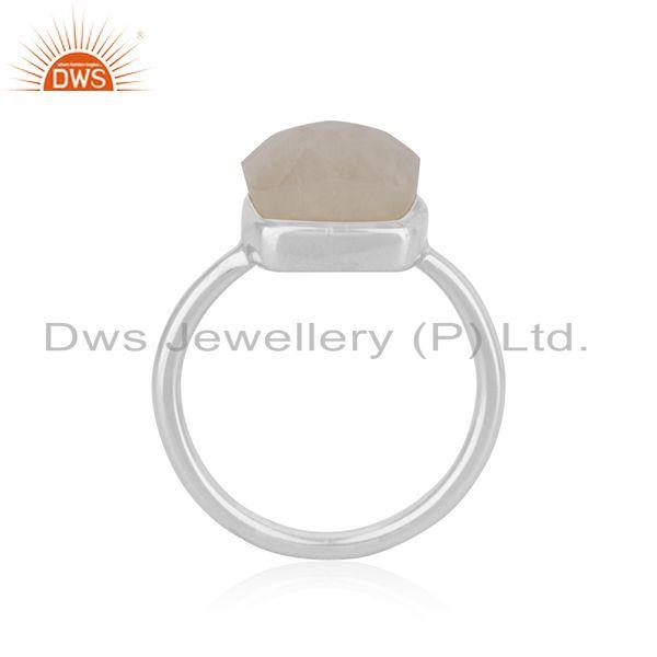 Indian Wholesaler of Natural Rainbow Moonstone Fine Sterling Silver Ring Manufacturers