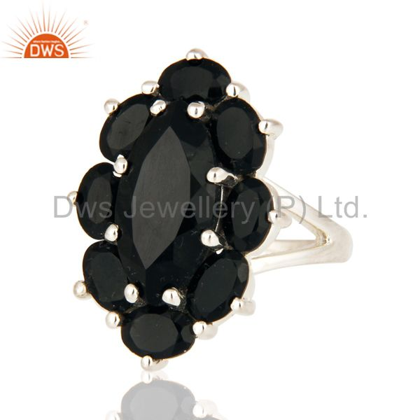Manufacturer of Solid 925 Sterling Silver Black Onyx Designer Ring - Fine Gemstone Jewelry