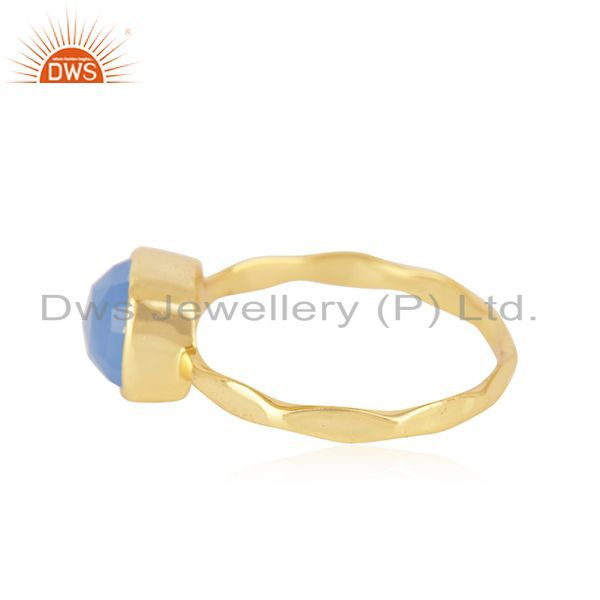 Indian Manufacturer of Hand Hammered Gold Plated Brass Fashion Gemstone Ring Manufacturer