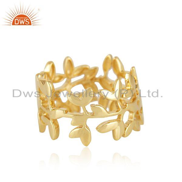 Supplier of Olive Leaf Handmade 925 Sterling Silver 14K Gold Plated Band Rings
