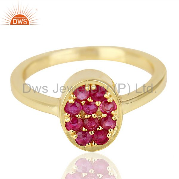 Manufacturer of Natual Ruby Oval Shape 14K Gold Plated 92.5 Sterling Silver Solid Ring
