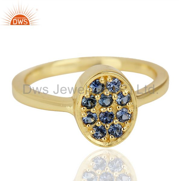 Wholesale Natual Sapphire Oval Shape 14K Gold Plated 92.5 Sterling Silver Solid Ring