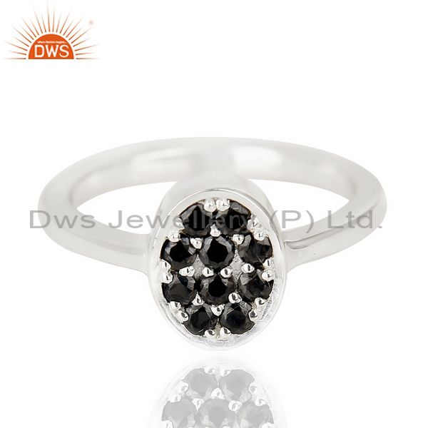 Supplier of Black Zircon Oval Shape 92.5 Sterling Silver Solid Ring