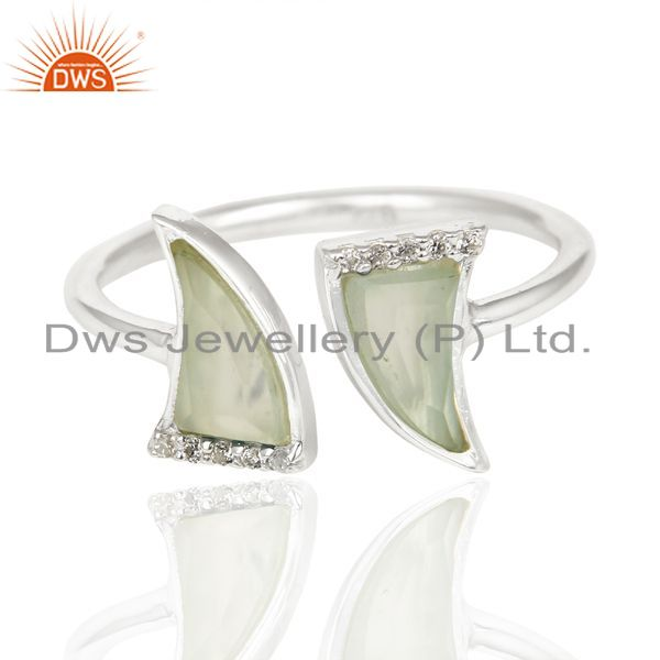 Wholesale Aqua Chalcedony Two Horn Cz Studded Openable Adjustable 92.5 Sterling SilverRing