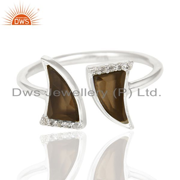 Manufacturer of Smoky Topaz Two Horn Cz Studded Openable Adjustable 92.5 Sterling Silver Ring