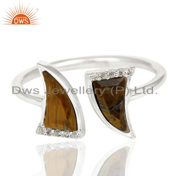 Wholesale Tigereye Two Horn Cz Studded Adjustable Openable 92.5 Sterling Silver Ring