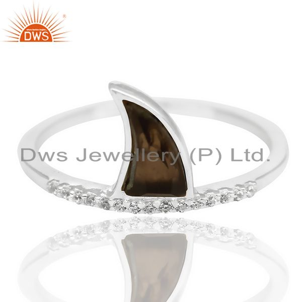 Supplier of Smoky Topaz Horn Cz Studded Adjustable 92.5 Sterling Silver Ring