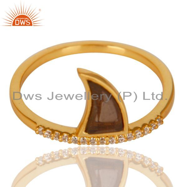 Wholesale Smoky Topaz Horn Cz Studded Adjustable 14K Gold Plated 92.5 Sterling Silver Ring