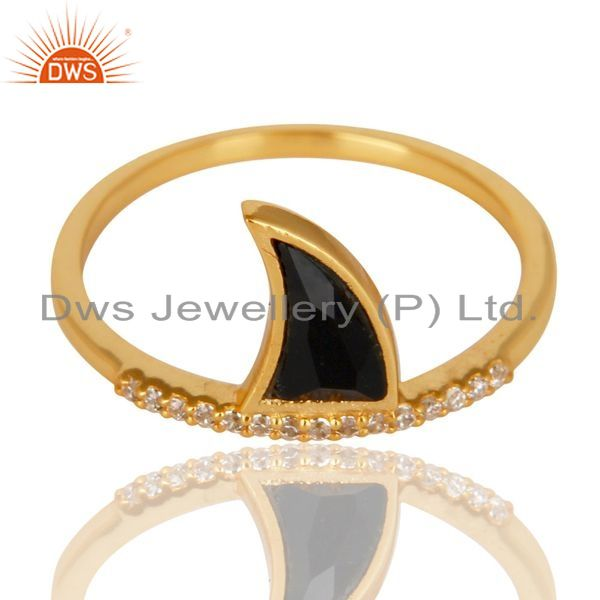 Supplier of Black Onyx Horn Cz Studded Adjustable 14K Gold Plated 92.5 Sterling Silver Ring