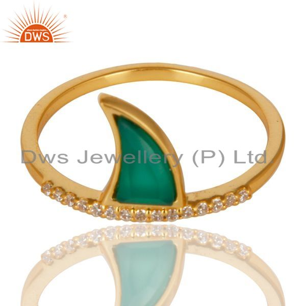 Wholesale Green Onyx Horn Cz Studded Adjustable 14K Gold Plated 92.5 Sterling Silver Ring