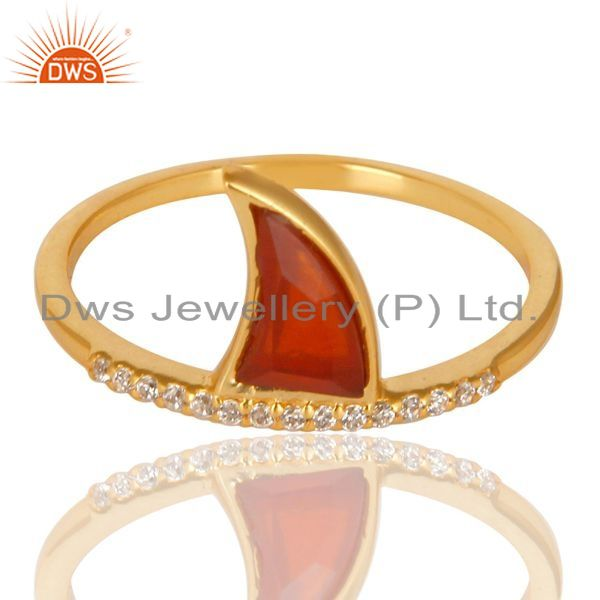 Manufacturer of Red Onyx Horn Cz Studded Adjustable 14K Gold Plated 92.5 Sterling Silver Ring