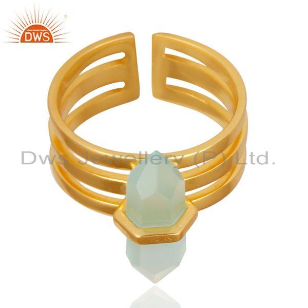 Wholesale Aqua Chalcedony Wide Horn Adjustable 14K Gold Plated Sterling Silver Ring