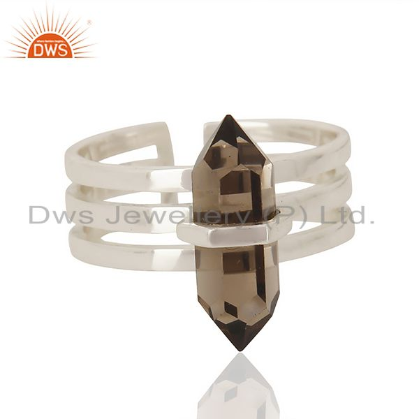Wholesale Smoky Wide Horn Adjustable Openable 92.5 Sterling Silver Ring