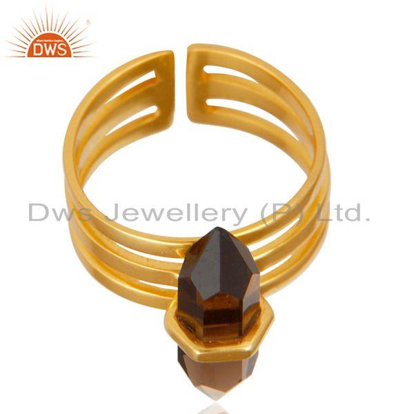Manufacturer of Smoky Topaz Wide Horn Adjustable 14K Gold Plated Sterling Silver Ring
