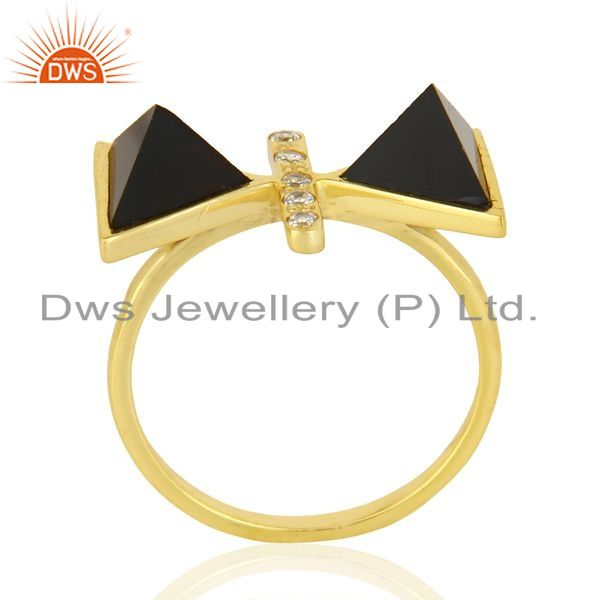 Manufacturer of Black Onyx Triangle Cut Pyramid Cz Studded 14 K Gold Plated Silver Ring