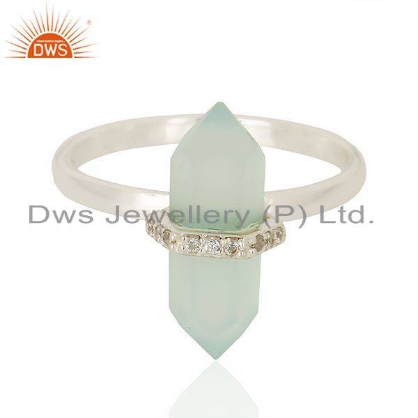 Manufacturer of Aqua Chalcedony Cz Studded Double Terminated Pencil 92.5 Sterling Silver Ring