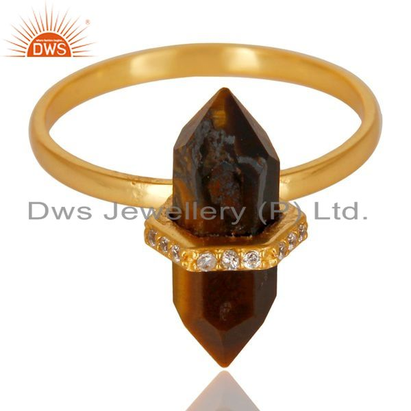 Supplier of Tigereye Cz Studded Double Terminated Pencil Gold Plated Silver Ring