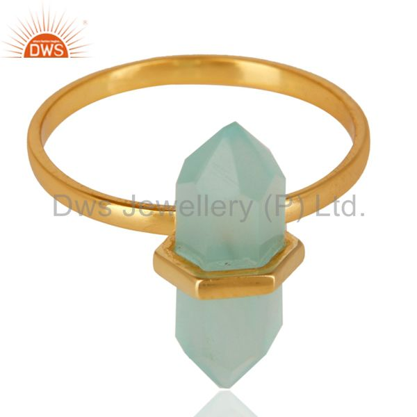 Wholesale Aqua Chalcedony Terminated Pencil Gold Plated 92.5Stelring Silver Wholesale Ring