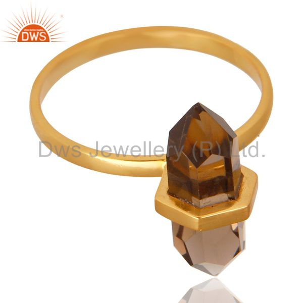Manufacturer of Smoky Topaz Terminated Pencil Gold Plated 92.5 Stelring Silver Wholesale Ring