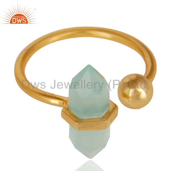 Manufacturer of Aqua Chalcedony Pencil Adjustable Openable Ball 14K Gold Plated 92.5 Silver Ring