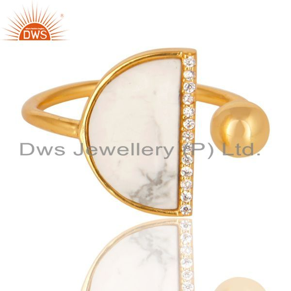 Wholesale Howlite Half Moon Ring Cz Studded 14K Gold Plated Sterling Silver Ring