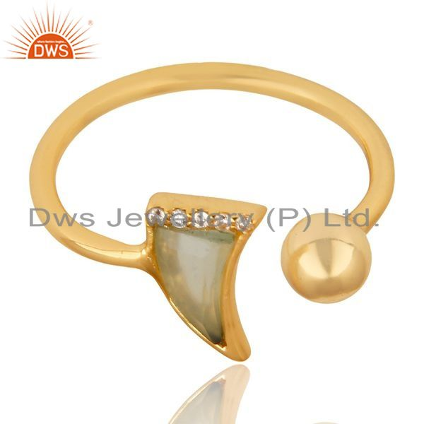 Supplier of Aqua Chalcedony Horn Ring Cz Studded Ball Ring Gold Plated Sterling Silver Ring