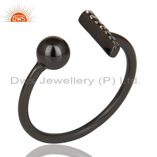 Manufacturer of CZ Gemstone Stackable Black Oxidized 925 Sterling Silver Ring Jewelry