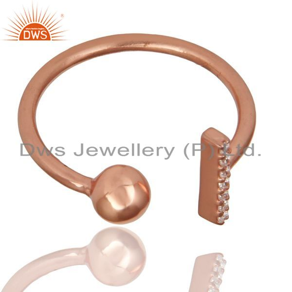 Wholesale CZ Gemstone Stackable 14K Rose Gold Plated 925 Sterling Silver Ring Jewelry