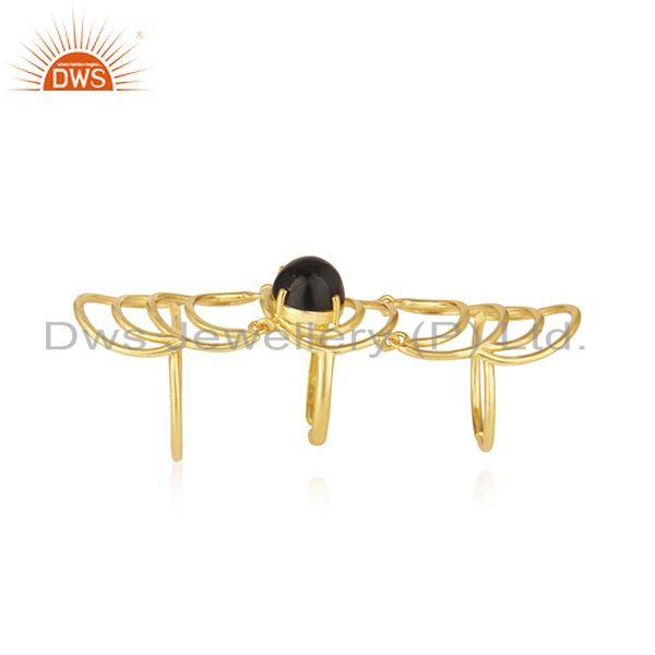 Indian Manufacturer of Black Onyx Gemstone Gold Plated Sterling Silver Designer Knuckle Rings