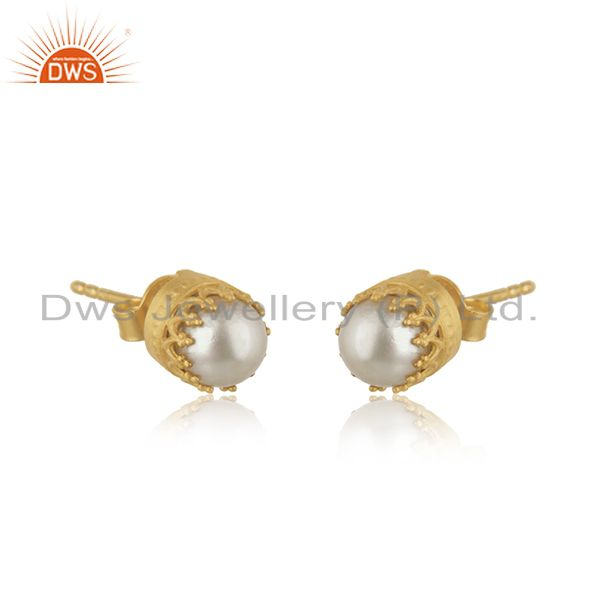 Wholesale Pearl Stud 18K Yellow Gold Plated 925 Sterling Silver Tiny Earrings Jewelry