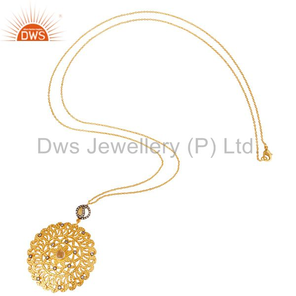 Wholesale Hammered 22K Yellow Gold Plated Over Brass Crystal Quartz Pendant With Chain