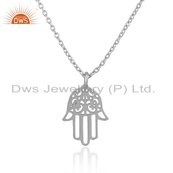 Indian Supplier of Lucky Hamsa Charm Fine Sterling Silver Designer Chain Pendant Supplier