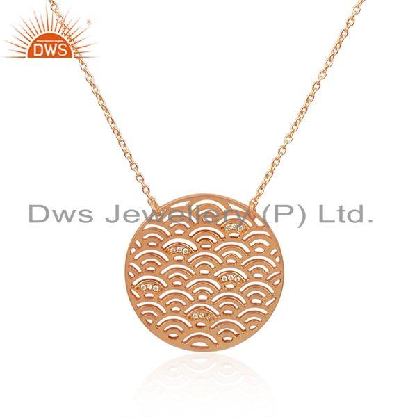 Indian Manufacturer of Rose Gold Plated 925 Silver White Zircon Chain Pendant Wholesaler