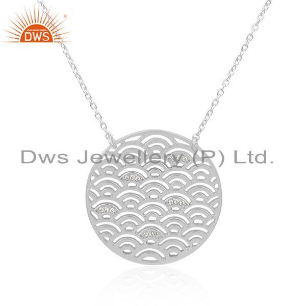 Indian Supplier of White Rhodium Plated 925 Silver White Zircon Pendant Manufacturer